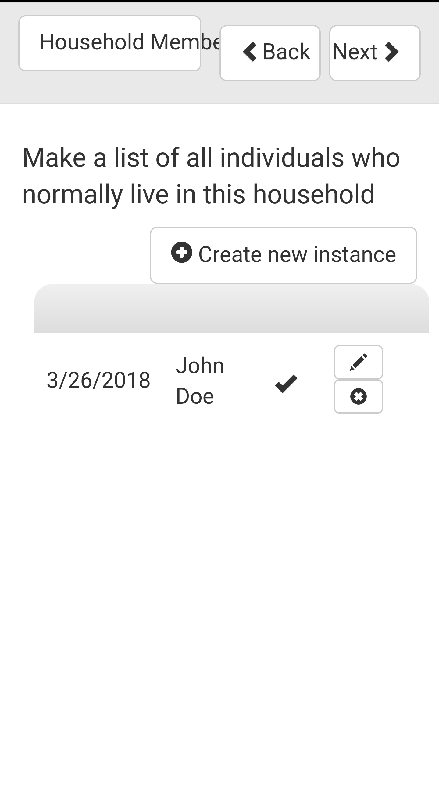 Survey Household Subform One Entry