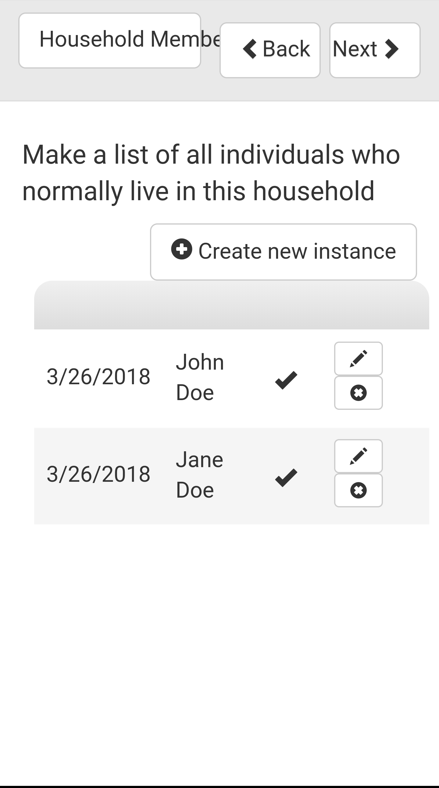 Survey Household Subform Two Entry