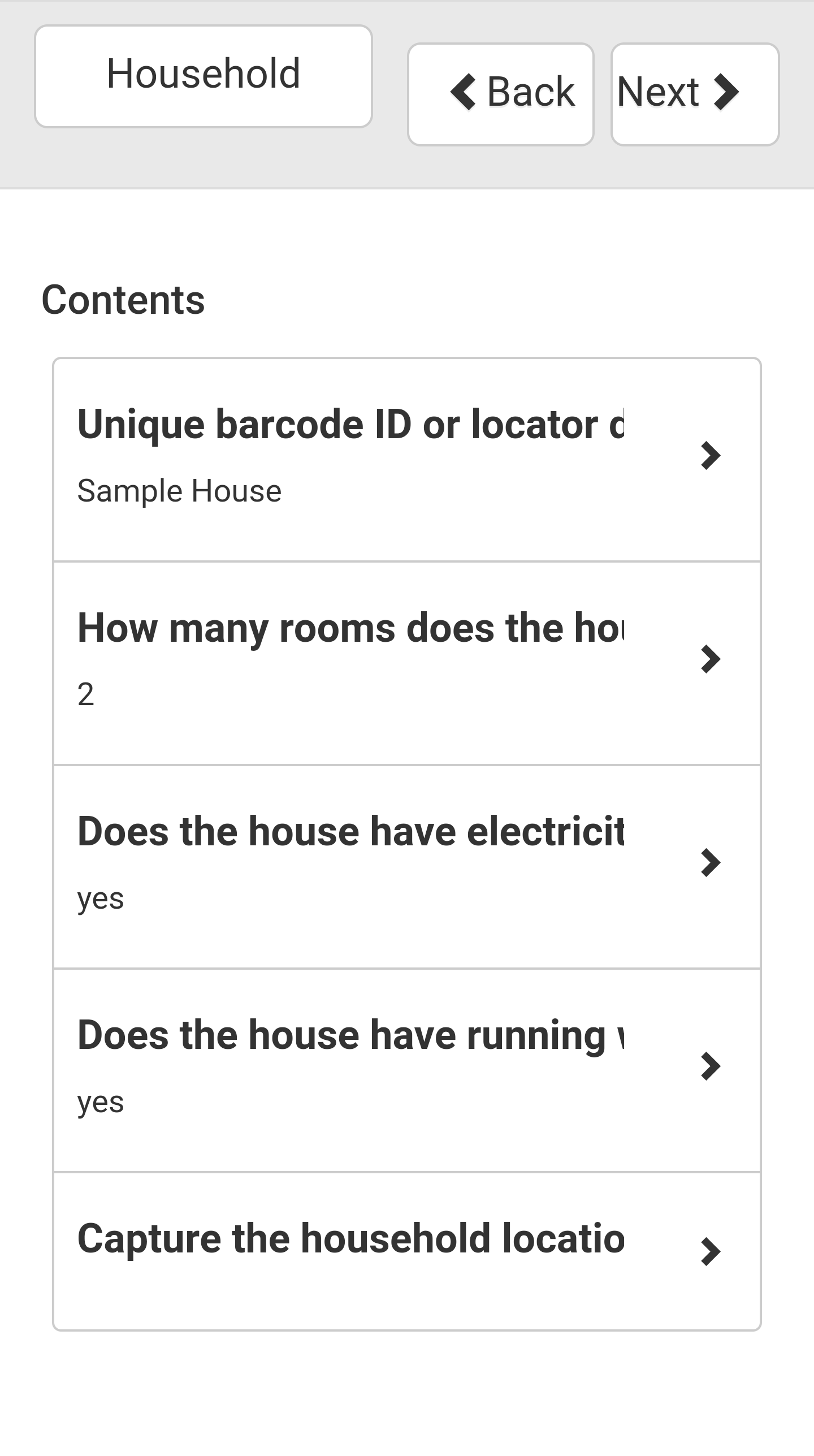 Survey Navigation Menu